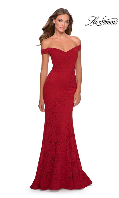La Femme LF28545 long red prom tight fitted, off shoulder mermaid, lace sexy prom dress with open back. This red v neck sleek and sexy, low back formal full length evening gown is perfect for 2020 prom dresses