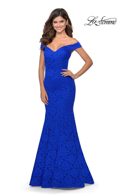 La Femme LF28545 long royal blue prom tight fitted, off shoulder mermaid, lace sexy prom dress with open back. This bright blue v neck sleek and sexy, low back formal full length evening gown is perfect for 2020 prom dresses