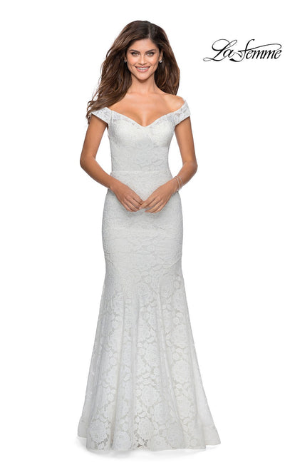 La Femme LF28545 long white prom tight fitted, off shoulder mermaid, lace sexy prom dress with open back. This snow white v neck sleek and sexy, low back formal full length evening gown is perfect for 2020 prom dresses