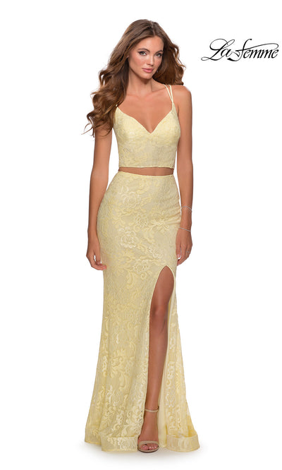 La Femme LF28590 long two piece pale yellow prom fitted sleek and sexy, simple dress. This 2 piece gown has a fitted skirt with high slit & an open back v neckline top. This light yellow formal crop top & fitted skirt is perfect for 2020 prom dresses