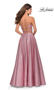 La Femme LF28618 long two piece pink prom flowy, simple dress. This 2 piece gown has a flowy skirt with a high slit & an open back v neckline top with straps. Back of this metallic pink formal crop top & fitted skirt is perfect for 2020 prom dresses