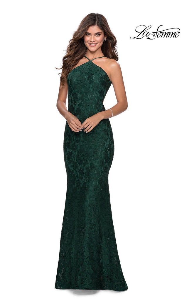 La Femme LF28619 long emerald green prom tight fitted, high neck mermaid, lace sexy prom dress with open back. This dark green or hunter green high neck sleek and sexy, low back formal full length evening gown is perfect for 2020 prom dresses