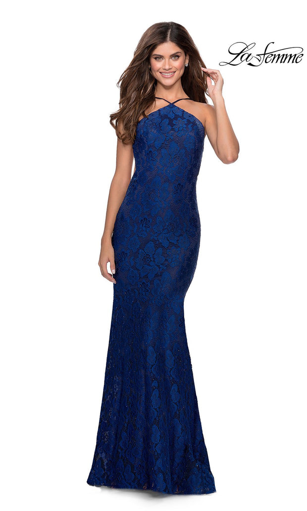 La Femme LF28619 long navy blue prom tight fitted, high neck mermaid, lace sexy prom dress with open back. This dark blue high neck sleek and sexy, low back formal full length evening gown is perfect for 2020 prom dresses