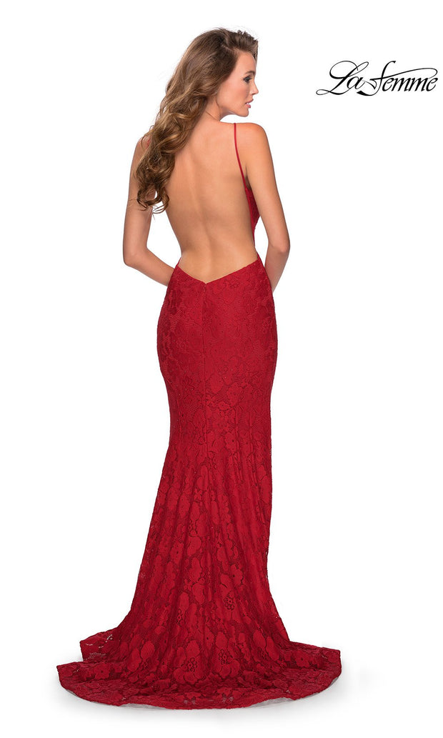 La Femme LF28619 long red prom tight fitted, high neck mermaid, lace sexy prom dress with open back. Back of this red high neck sleek and sexy, low back formal full length evening gown is perfect for 2020 prom dresses