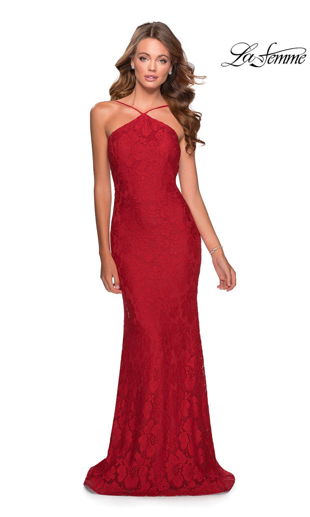La Femme LF28619 long red prom tight fitted, high neck mermaid, lace sexy prom dress with open back. This red high neck sleek and sexy, low back formal full length evening gown is perfect for 2020 prom dresses