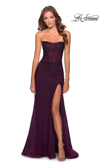 La Femme LF28621 long dark berry fitted sexy prom dress with high slit and strapless neckline. This dark purple sleek and sexy formal full length sequin beaded evening gown with leg slit is perfect for 2020 prom