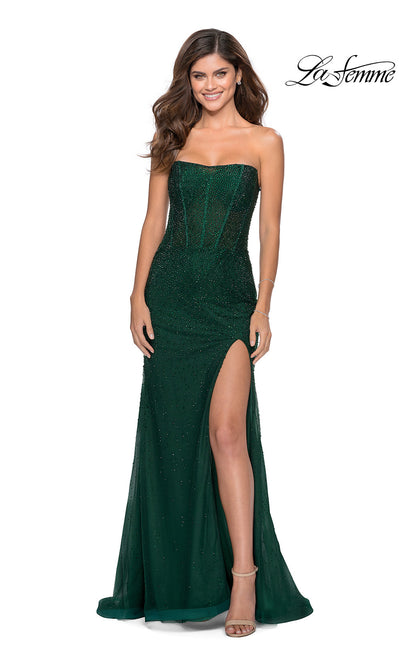 La Femme LF28621 long emerald green fitted sexy prom dress with high slit and strapless neckline. This dark green or hunter green sleek and sexy formal full length sequin beaded evening gown with leg slit is perfect for 2020 prom