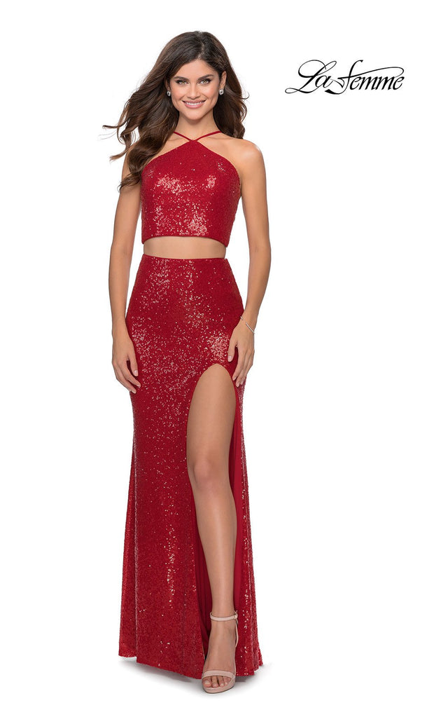 La Femme LF28623 long two piece red prom fitted sleek and sexy dress. This 2 piece beaded gown has fitted skirt with a high slit, high neck top, high slit. This red formal crop top & fitted skirt is perfect for 2020 prom dresses