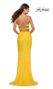 La Femme LF28623 long two piece yellow prom fitted sleek and sexy dress. This 2 piece beaded gown has fitted skirt with a high slit, high neck top, high slit. Back of this yellow formal crop top & fitted skirt is perfect for 2020 prom dresses