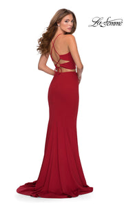 La Femme LF28624 long two piece red prom fitted sleek and sexy, simple dress. This 2 piece gown has a fitted mermaid skirt with high slit and open back high neckline. Back of this red formal crop top & fitted skirt is perfect for 2020 prom dresses