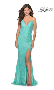 La Femme LF28632 long aqua blue prom tight fitted, v neck mermaid, lace sexy prom dress with open back. This bright blue v neck sleek and sexy, low back formal full length evening gown is perfect for 2020 prom dresses