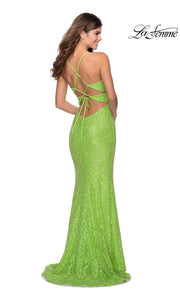 La Femme LF28632 long neon green prom tight fitted, v neck mermaid, lace sexy prom dress with open back. Back of this bright green v neck sleek and sexy, low back formal full length evening gown is perfect for 2020 prom dresses