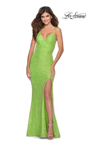 La Femme LF28632 long neon green prom tight fitted, v neck mermaid, lace sexy prom dress with open back. This bright green v neck sleek and sexy, low back formal full length evening gown is perfect for 2020 prom dresses