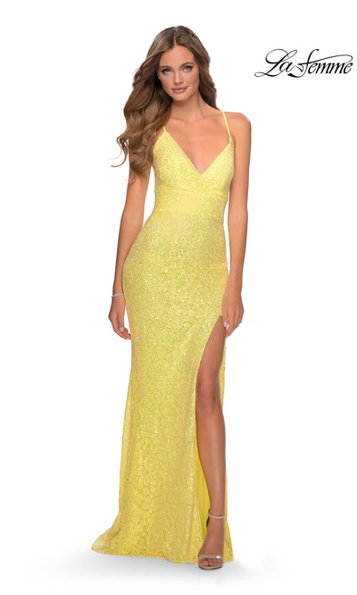 La Femme LF28632 long yellow prom tight fitted, v neck mermaid, lace sexy prom dress with open back. This yellow v neck sleek and sexy, low back formal full length evening gown is perfect for 2020 prom dresses