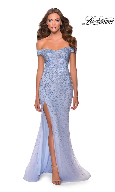 La Femme LF28658 long lilac mist prom fitted sexy sequin beaded prom dress with strapless neckline and high slit. This light blue sleek and sexy, beaded formal full length evening gown is perfect for 2020 prom dresses