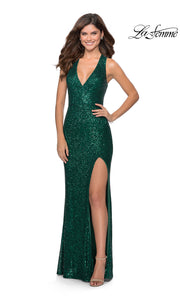 La Femme LF28659 long emerald green prom tight fitted sexy sequin beaded prom dress with open back & halter neck. This dark green or hunter green sleek and sexy, low back, high slit formal full length evening gown is perfect for 2020 prom dresses