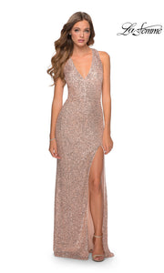 La Femme LF28659 long rose gold prom tight fitted sexy sequin beaded prom dress with open back & halter neck. This light gold sleek and sexy, low back, high slit formal full length evening gown is perfect for 2020 prom dresses