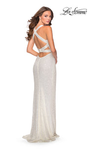 La Femme LF28659 long white prom tight fitted sexy sequin beaded prom dress with open back & halter neck. Back of this white sleek and sexy, low back, high slit formal full length evening gown is perfect for 2020 prom dresses