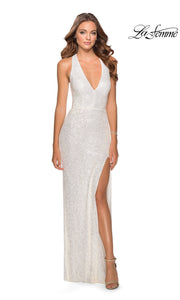 La Femme LF28659 long white prom tight fitted sexy sequin beaded prom dress with open back & halter neck. This white sleek and sexy, low back, high slit formal full length evening gown is perfect for 2020 prom dresses
