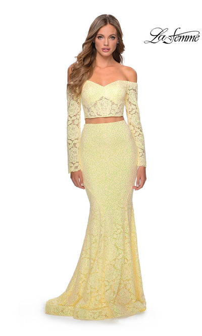 La Femme LF28666 long two piece pale yellow prom fitted sleek & sexy, simple dress. This 2 piece gown has a fitted mermaid skirt & long sleeve off shoulder top. This light yellow lace formal crop top & fitted skirt is perfect for 2020 prom dresses