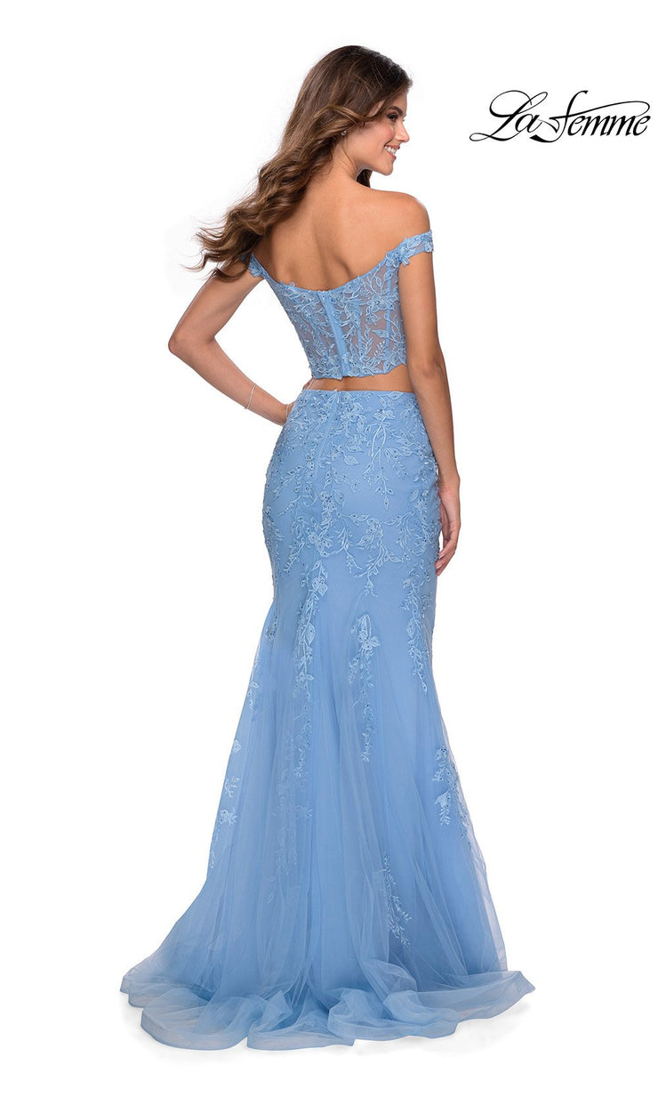 La Femme LF28682 long two piece cloud blue prom fitted sleek & sexy, simple dress. This 2 piece gown has a fitted mermaid skirt & off shoulder top. Back of this light blue formal crop top & fitted skirt is perfect for 2020 prom dresses