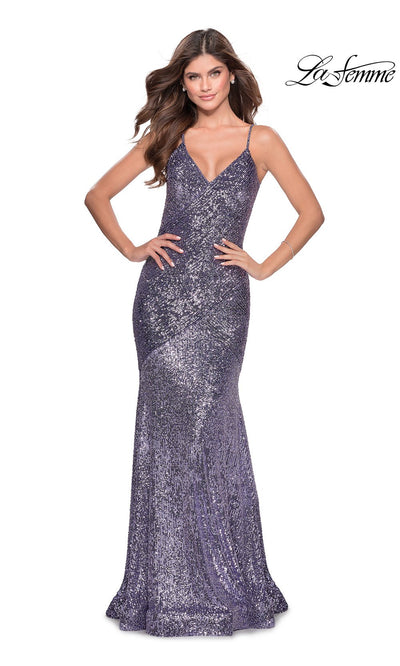 La Femme LF28713 long lavender prom tight fitted sexy sequin beaded prom dress with open back & v neck with straps. This silver gray sleek and sexy, low back formal full length evening gown is perfect for 2020 prom dresses