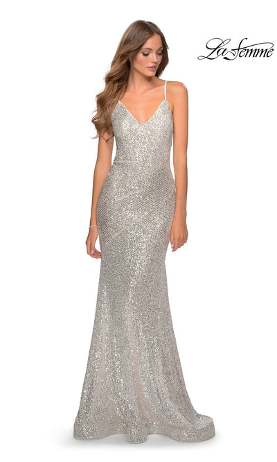 La Femme LF28713 long light silver  prom tight fitted sexy sequin beaded prom dress with open back & v neck with straps. This light gray sleek and sexy, low back formal full length evening gown is perfect for 2020 prom dresses
