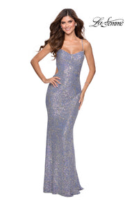 La Femme LF28724 long blue multi prom tight fitted sexy sequin beaded prom dress with open back & v neck with straps. This blue sleek and sexy, low back formal full length evening gown is perfect for 2020 prom dresses