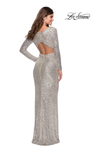 La Femme LF28743 long silver prom tight fitted sexy sequin beaded prom dress with long sleeves & v neckline. The back of light silver sleek and sexy, low back formal full length evening gown is perfect for 2020 prom dresses