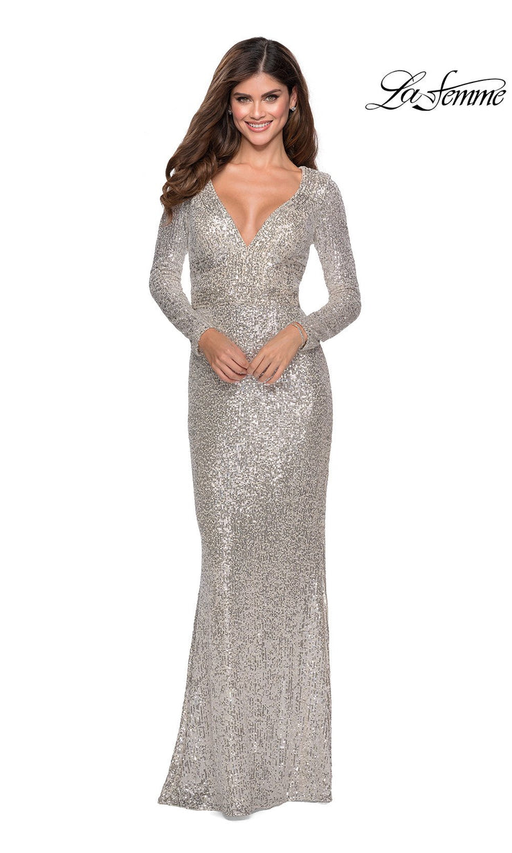 La Femme LF28743 long silver prom tight fitted sexy sequin beaded prom dress with long sleeves & v neckline. This light silver sleek and sexy, low back formal full length evening gown is perfect for 2020 prom dresses