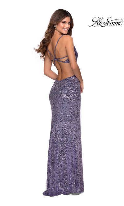 La Femme LF28765 long lavender gray prom tight fitted sexy sequin beaded prom dress with open back & v neck with straps. Back of this dark gray silver sleek and sexy, low back formal full length evening gown is perfect for 2020 prom dresses