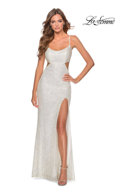 La Femme LF28765 long white prom tight fitted sexy sequin beaded prom dress with open back & v neck with straps. This white sleek and sexy, low back formal full length evening gown is perfect for 2020 prom dresses