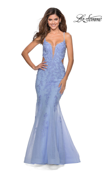 La Femme LF28768 long lilac mist prom tight fitted, v neck mermaid, lace sexy prom dress with open back. This light blue v neck sleek and sexy, low back formal full length evening mermaid gown is perfect for 2020 prom dresses