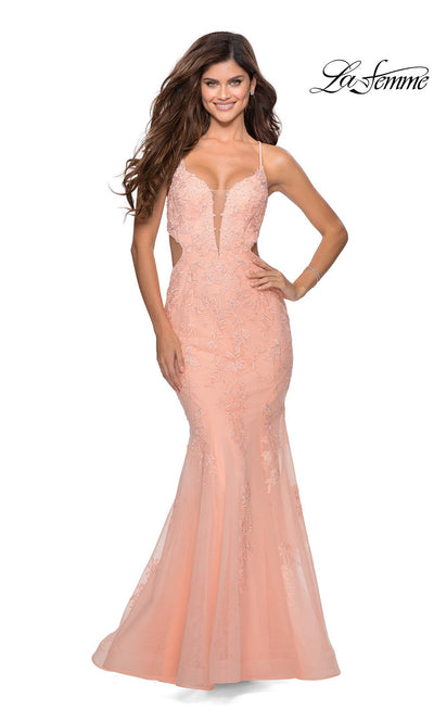 La Femme LF28768 long peach prom tight fitted, v neck mermaid, lace sexy prom dress with open back. This peach v neck sleek and sexy, low back formal full length evening mermaid gown is perfect for 2020 prom dresses