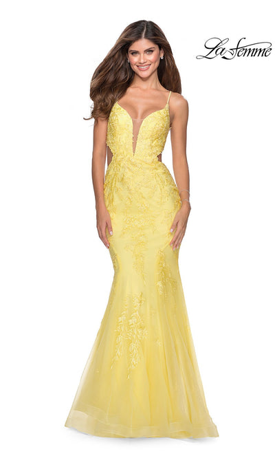 La Femme LF28768 long yellow prom tight fitted, v neck mermaid, lace sexy prom dress with open back. This yellow v neck sleek and sexy, low back formal full length evening mermaid gown is perfect for 2020 prom dresses