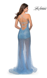 La Femme LF28806 long cloud blue prom tight fitted sexy sequin beaded prom dress with open low back & v neck with straps. Back of light blue sleek and sexy see through dress with shorts formal full length evening gown is perfect for 2020 prom dresses