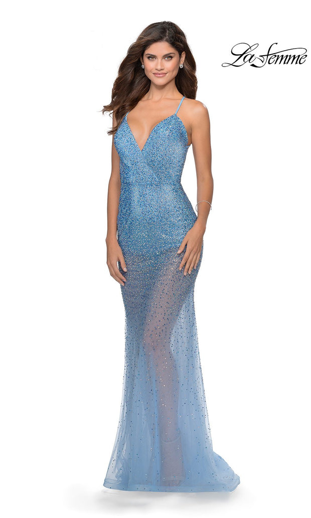 La Femme LF28806 long cloud blue prom tight fitted sexy sequin beaded prom dress with open low back & v neck with straps. This light blue sleek and sexy see through dress with shorts formal full length evening gown is perfect for 2020 prom dresses