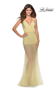 La Femme LF28806 long pale yellow prom tight fitted sexy sequin beaded prom dress with open low back & v neck with straps. This light yellow sleek and sexy see through dress with shorts formal full length evening gown is perfect for 2020 prom dresses
