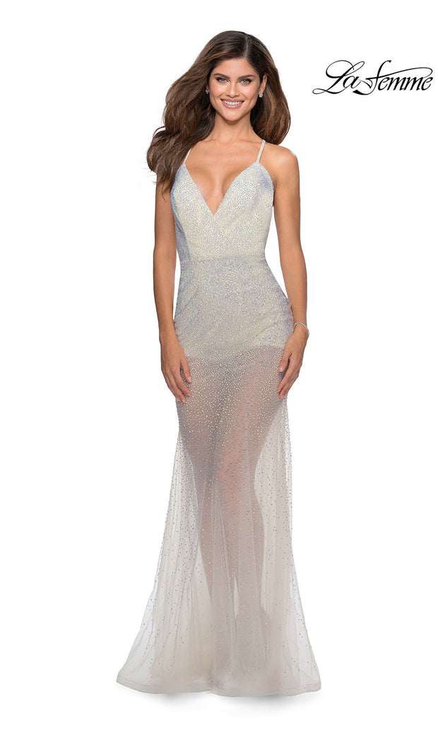 La Femme LF28806 long white prom tight fitted sexy sequin beaded prom dress with open low back & v neck with straps. This white sleek and sexy see through dress with shorts formal full length evening gown is perfect for 2020 prom dresses