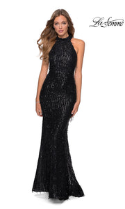 La Femme LF28819 long black prom tight fitted, mermaid sexy sequin beaded prom dress with open back & high neck. This black beaded sleek and sexy, low back formal full length evening gown is perfect for 2020 prom dresses