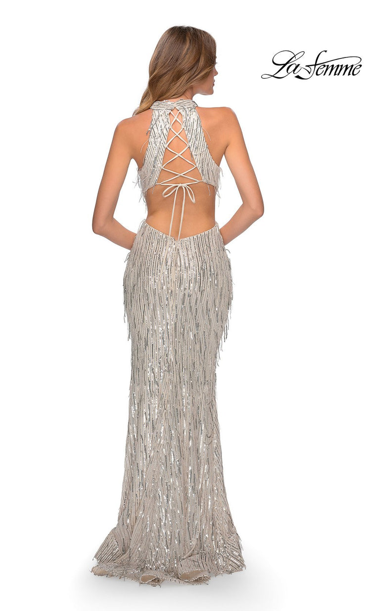 La Femme LF28819 long silver prom tight fitted, mermaid sexy sequin beaded prom dress with open back & high neck. Back of this light silver beaded sleek and sexy, low back formal full length evening gown is perfect for 2020 prom dresses