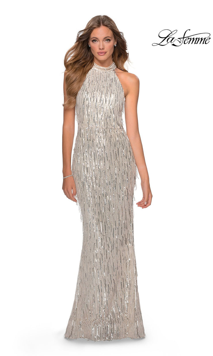 La Femme LF28819 long silver prom tight fitted, mermaid sexy sequin beaded prom dress with open back & high neck. This light silver beaded sleek and sexy, low back formal full length evening gown is perfect for 2020 prom dresses