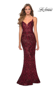 La Femme LF28828 long burgundy red prom tight fitted sexy sequin beaded prom dress with open back & v neck with straps. This dark red or maroon or wine sleek and sexy, low back formal full length evening gown is perfect for 2020 prom dresses