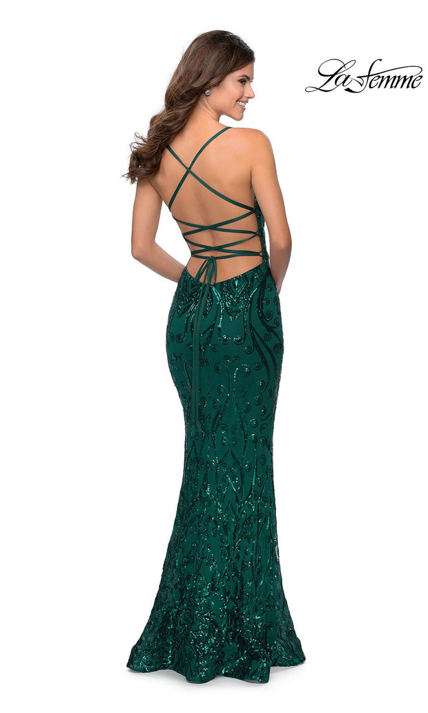 La Femme LF28828 long emerald green prom tight fitted sexy sequin beaded prom dress with open back & v neck with straps. Back of this dark green or hunter green sleek and sexy, low back formal full length evening gown is perfect for 2020 prom dresses