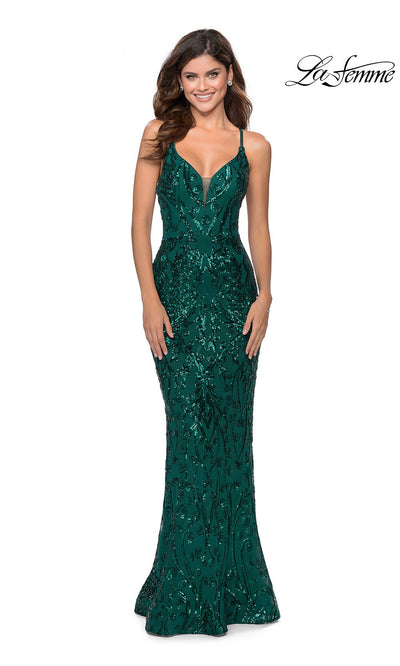 La Femme LF28828 long emerald green prom tight fitted sexy sequin beaded prom dress with open back & v neck with straps. This dark green or hunter green sleek and sexy, low back formal full length evening gown is perfect for 2020 prom dresses