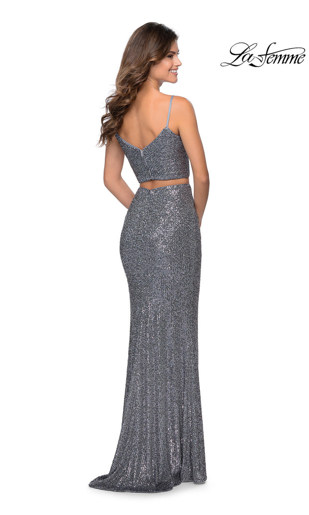 La Femme LF28870 long two piece silver prom fitted sequin beaded dress. This 2 piece gown has a fitted mermaid skirt with high slit and v neckline w/ straps.Back of dark grey or charcoal formal full length evening gown is perfect for 2020 prom dresses