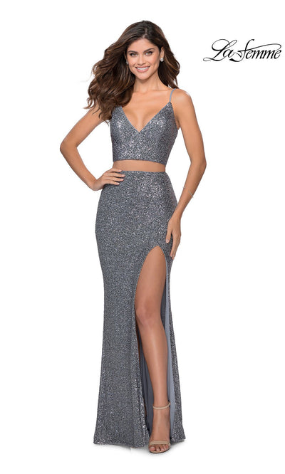 La Femme LF28870 long two piece silver prom fitted sequin beaded dress. This 2 piece gown has a fitted mermaid skirt with high slit and v neckline with straps. This dark grey or charcoal formal full length evening gown is perfect for 2020 prom dresses