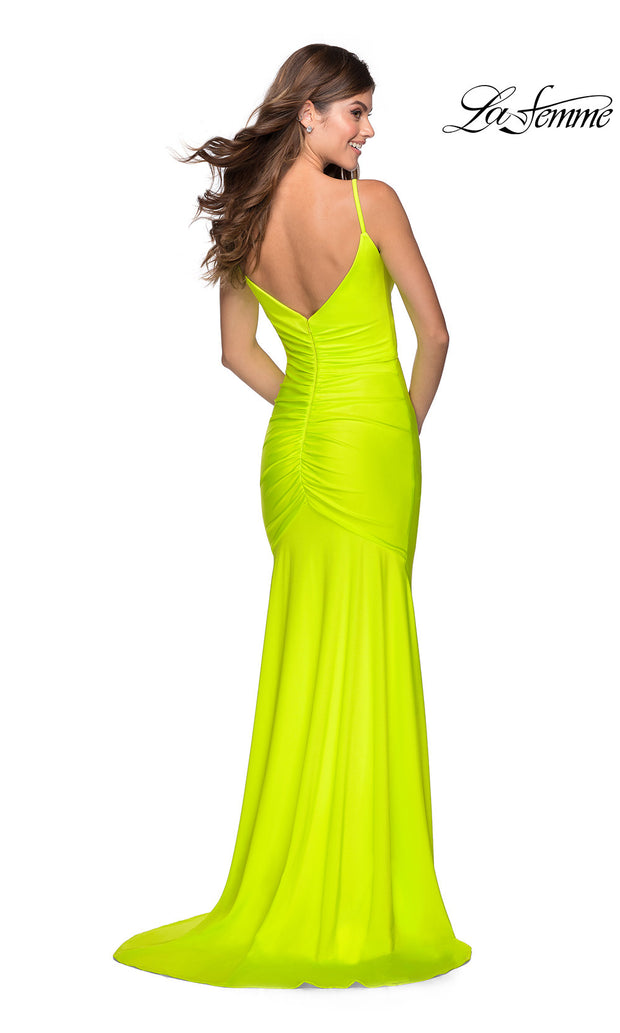 La Femme LF28891 long neon yellow prom tight fitted, v neck with straps, high slit sexy prom dress with v back. Back bright yellow or highlighter yellow v neck sleek and sexy, low back formal full length evening gown is perfect for 2020 prom dresses