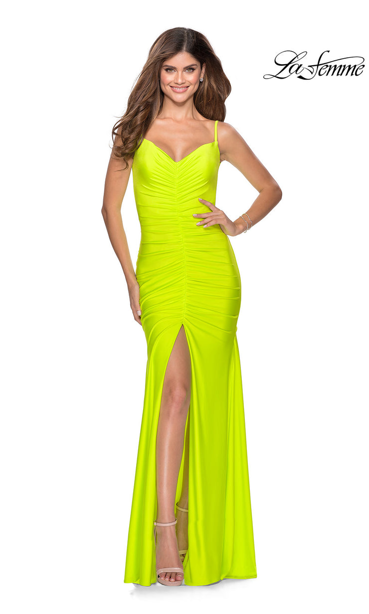 La Femme LF28891 long neon yellow prom tight fitted, v neck with straps, high slit sexy prom dress with v back. This bright yellow or highlighter yellow v neck sleek and sexy, low back formal full length evening gown is perfect for 2020 prom dresses