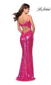 La Femme LF28937 long hot pink prom tight fitted sexy sequin beaded prom dress with open back & straight neckline with straps. Back of hot pink or bright pink sleek and sexy, low back formal full length evening gown is perfect for 2020 prom dresses
